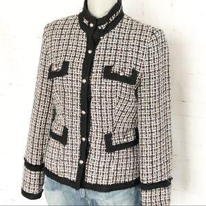 White House Black Market Tweed Military Jacket SZ6